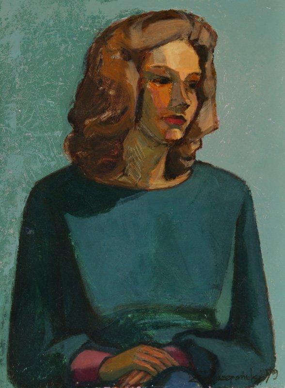 3117: C. Szczepanski 2 female portraits Oil on canvas