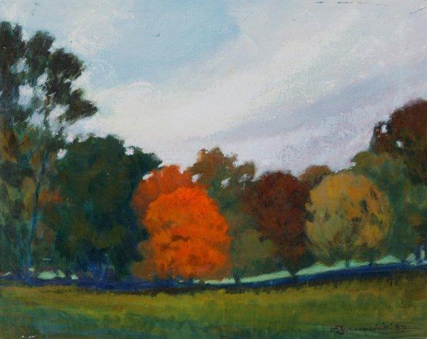 3120: C. Szczepanski Fall at Evans Farm Oil on canvas