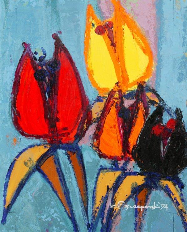 3121: C. Szczepanski Poppies Red face girl Oil on canva
