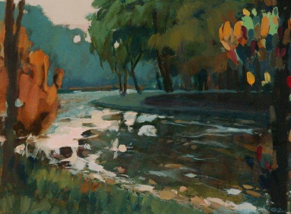 3122: C. Szczepanski Cacapon Creek Oil on canvas board