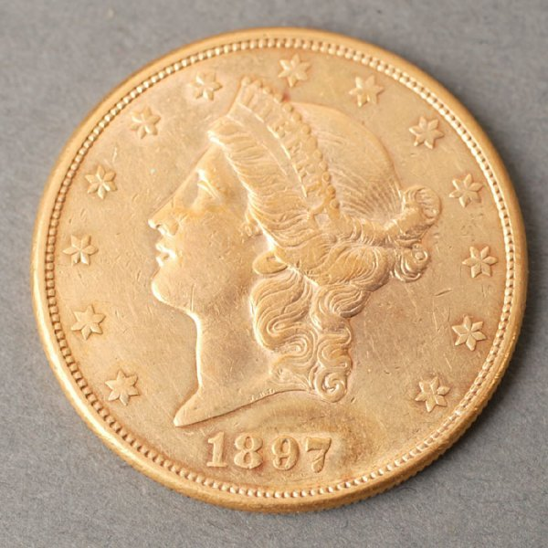 3124: 1897S Double Eagle $20 gold coin.