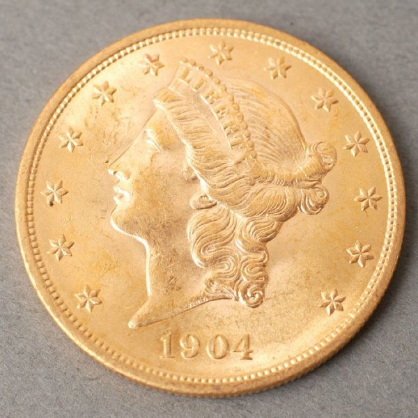 3125: 1904 Double Eagle $20 gold coin.