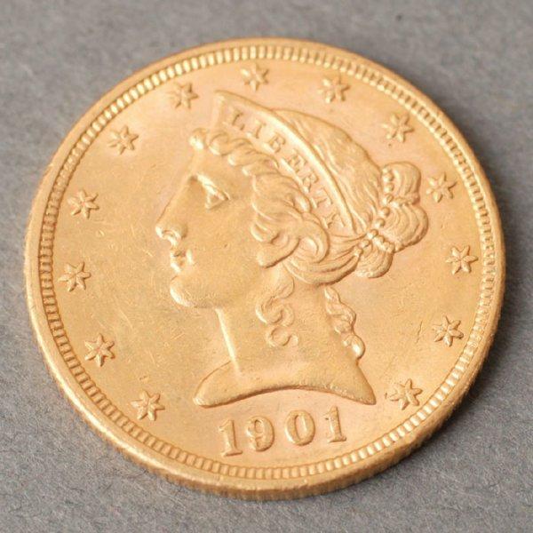 3128: 1901 Half Eagle $5 gold coin.