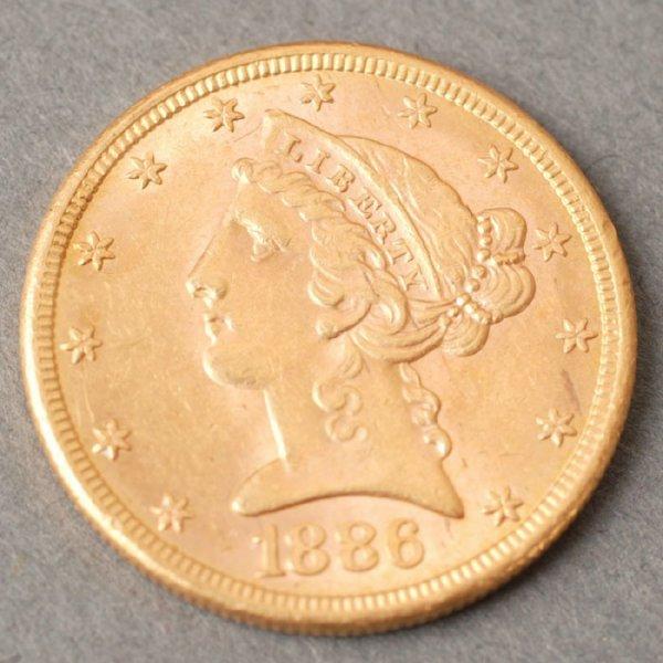 3129: 1886S Half Eagle $5 gold coin.