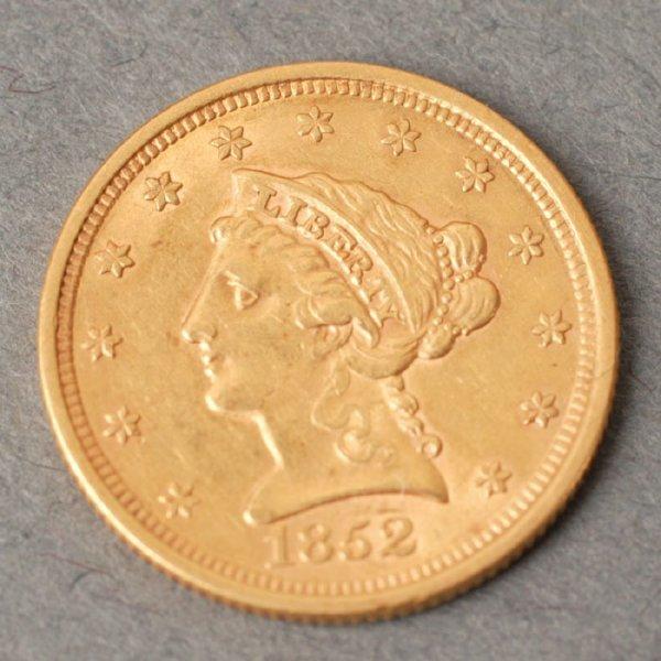 3130: 1852 Quarter Eagle $2.50 gold coin.