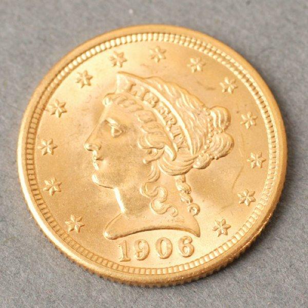 3131: 1906 Quarter Eagle $2.50 gold coin.