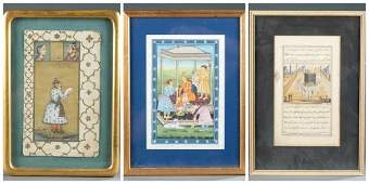 3 Mughal style miniature paintings, 19th/ 20th c.