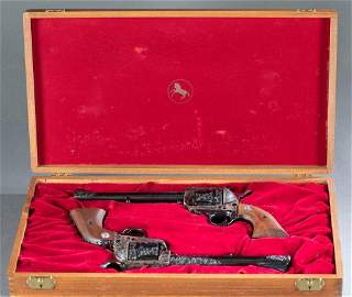 Pair of engraved Colt New Frontier Revolvers