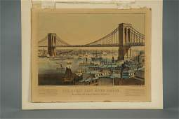 Currier. Litho. The Great East River Bridge. 1872.