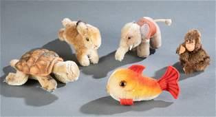5 Postwar Steiff small stuffed animals