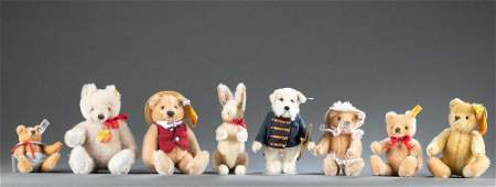 8 Late 20th Century Steiff stuffed animals.