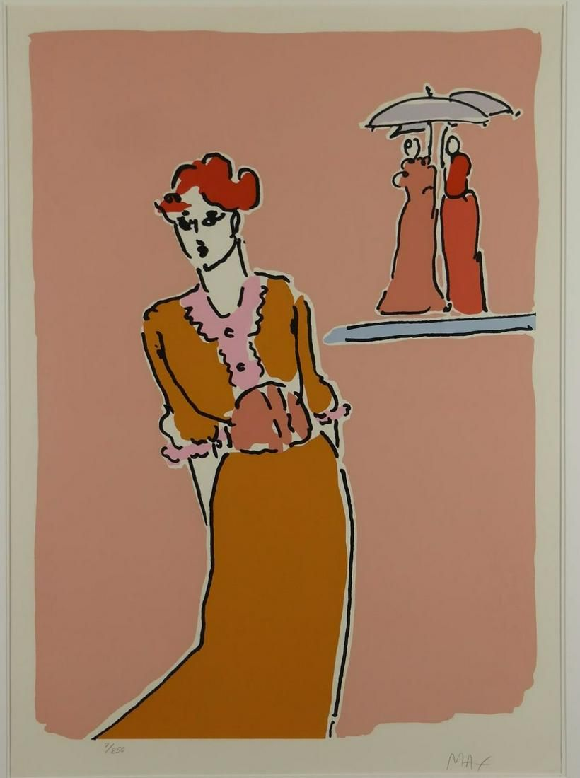 Peter Max. Serigraph. Two with Umbrellas. 1978.