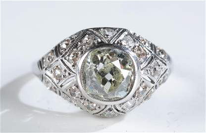 14k White gold and diamond cocktail ring.