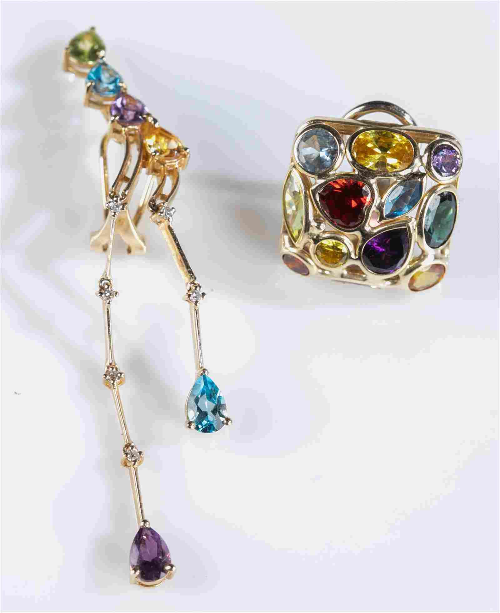 2 14k Gold clip on earrings.