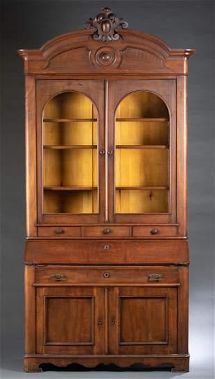 American walnut secretary bookcase, 19th c.