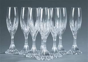 "8 Baccarat ""Massena"" champagne flutes."