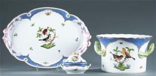"""3 Herend """"Rothschild Bird"""" tableware pieces."""