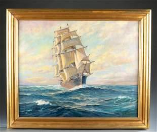 Charles Vickery, Tall Ship on Open Seas, O/C