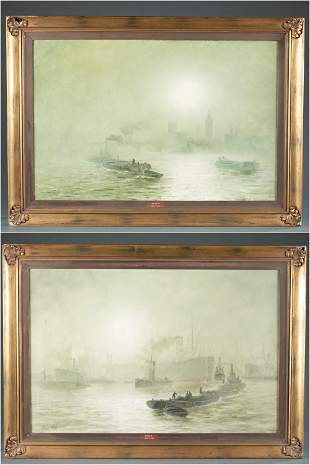 2 George Wolfe, Harbour Scenes, 19th c., O/C.