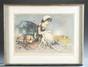 Jean Jansem, Peasant woman and child, lithograph