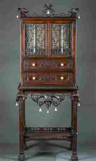 Chinese Chippendale vitrine, 19th c.