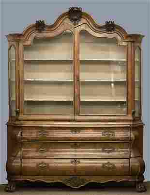 Dutch bombe walnut display cabinet, 19th c.