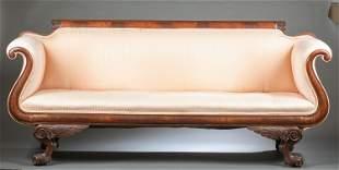 American Classical mahogany scroll arm sofa.
