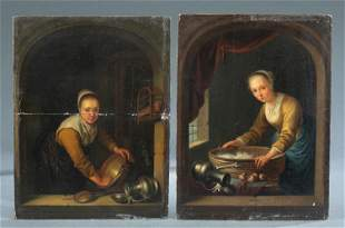 2 Dutch Master genre paintings, O/P