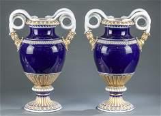 2 Meissen serpent handle vases, 19th c.
