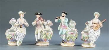 4 Meissen vases with figural musicians, 19th c.