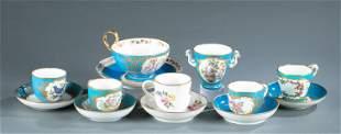6 Sevres porcelain teacups and one sugar bowl