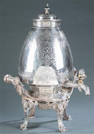 Victorian Elkington & Co. silverplate samovar.