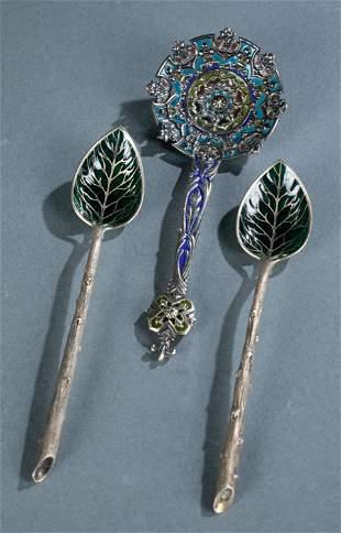 3 Plique-a-jour enamel sterling spoons.