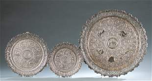 3 Indian silver reticulated footed trays.