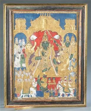 Hindu tanjore painting, 19th/ 20th c.