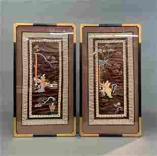 Pair of Chinese silk embroidery, framed.