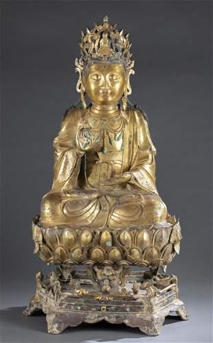 Large Chinese gilt bronze Guanyin, Ming/Qing.