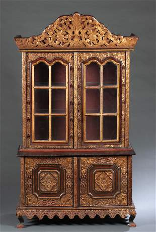 Chinese gilt and carved wood cabinet
