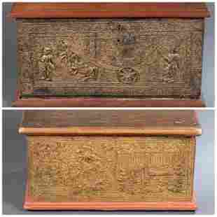 Pair of Thai lacquer & parcel-gilt wood chests.