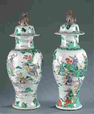 Pair of C/H export Famille Verte jars, 19th C.