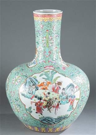 Chinese famille rose globular vase.