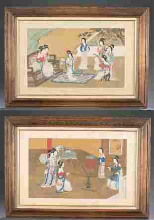 2 Japanese figure paintings on silk.