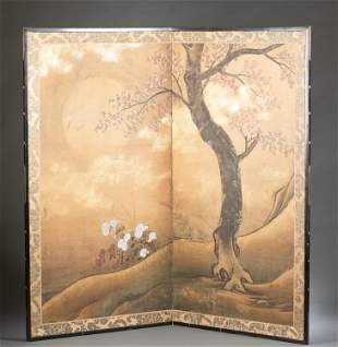 Antique Japanese two panel screen, 19th c.