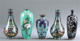 5 Japanese cloisonne vases, 19th/ Early 20th c.