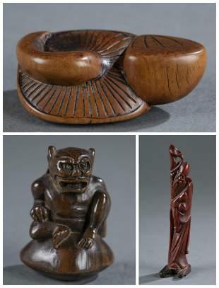 3 carved wooden netsuke.