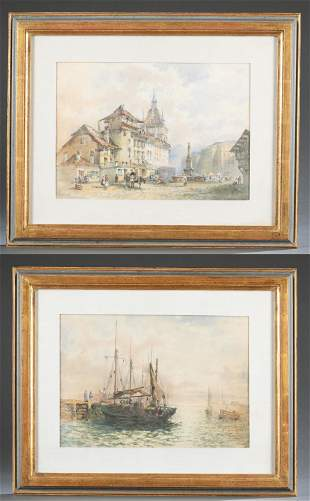 2 H. H. J. Watercolors, 19th/ 20th c.