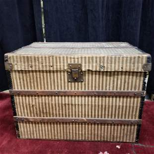 Louis Vuitton rayée canvas steamer trunk, 19th c.