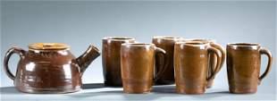 Norman Smith teapot and 6 mugs.