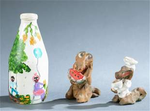 2 Clay figures & May Kulger painted bottle.