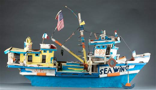 "J.P. Scott, ""Sea Wing"", mixed media boat model."